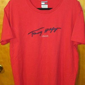 Vintage Tommy Hilfiger Jeans Embroidered Red Shirt
